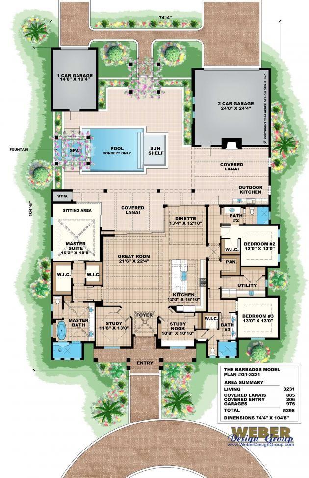 Beach House Plan: Old Florida Coastal & West Indies Style Floor Plan ...