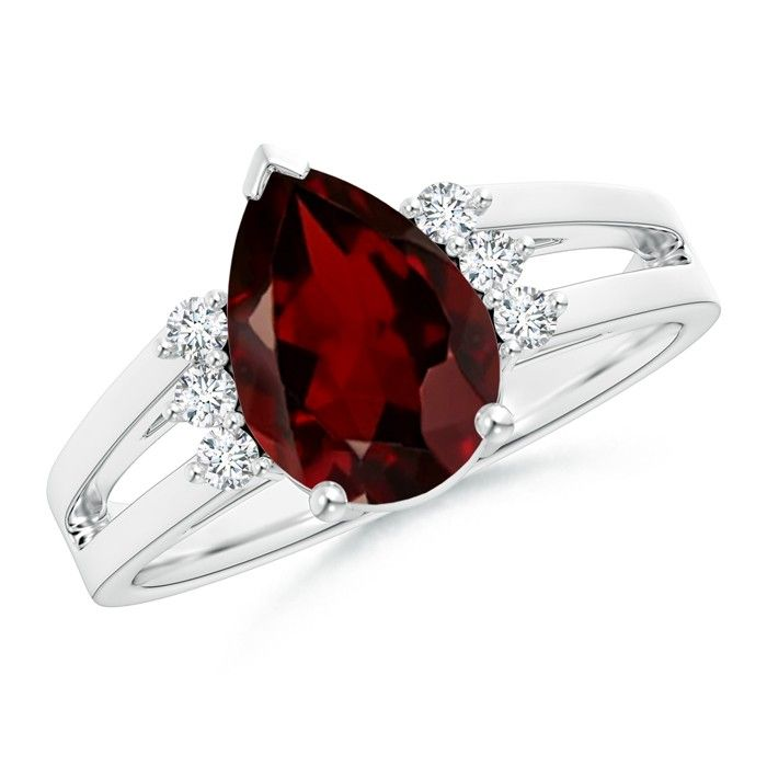 Solitaire Pear Garnet Ring With Triple Diamond Accents