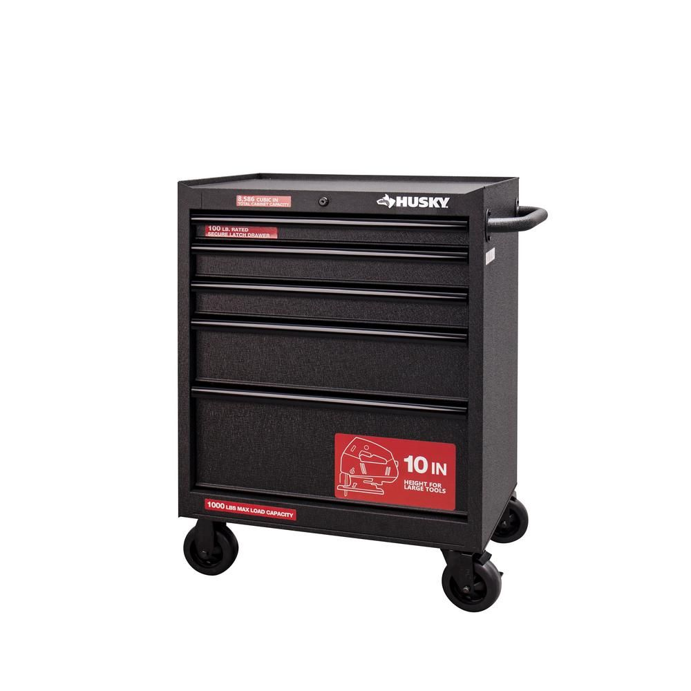 Husky 27 In W 5 Drawer Rolling Cabinet Tool Chest In Textured Black Uat H 26051 The Home Depot Tool Chest Tool Box Box Chest