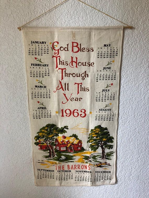 Vintage Linen Dish Towel 1963 Wall Calendar Old Retro Kitchen