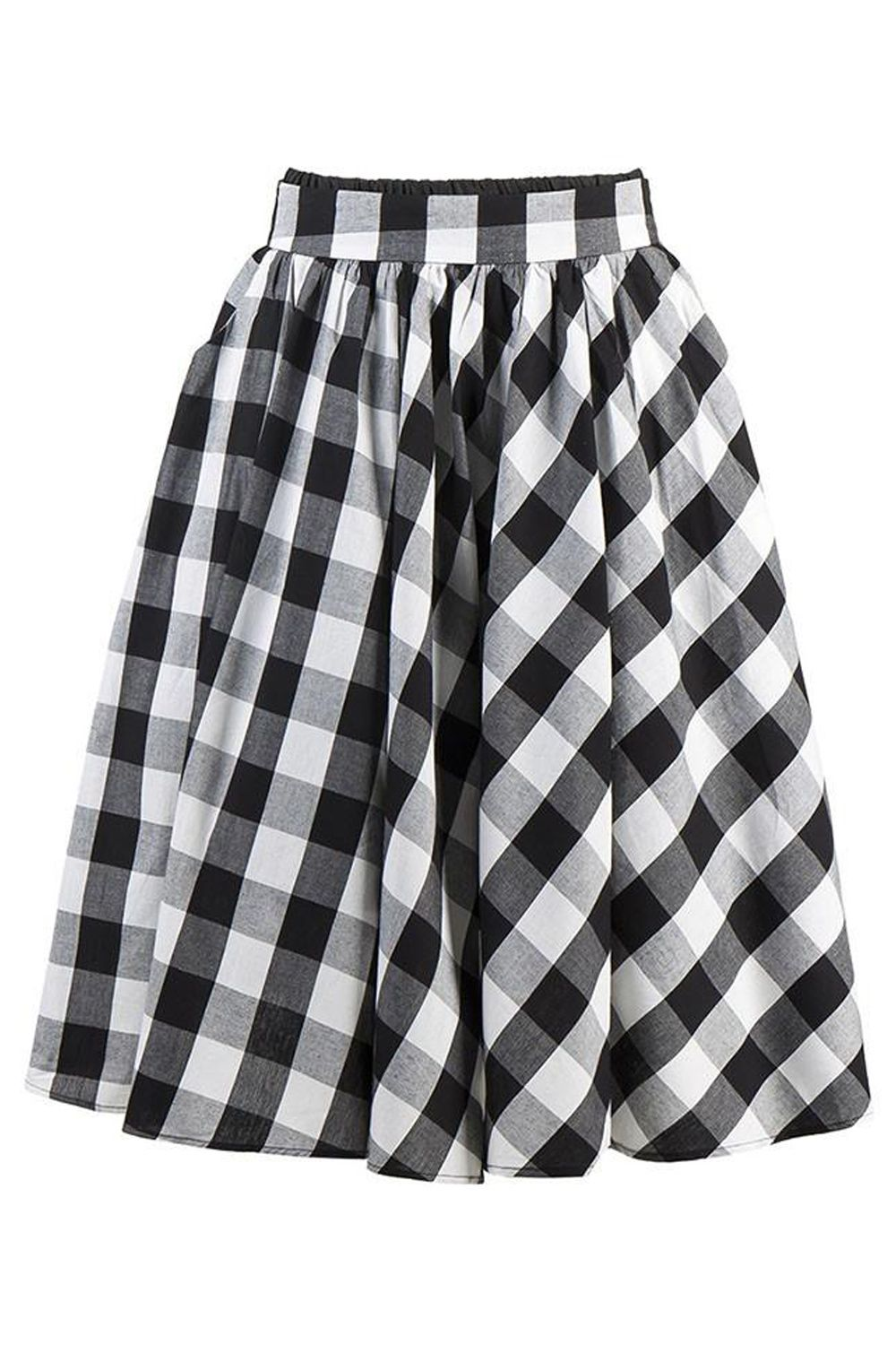 852c643f5d0900 Designer Clothes, Shoes & Bags for Women. With timeless, retro look. Check  out our Atomic Classic Black Plaid Skater Skirt.
