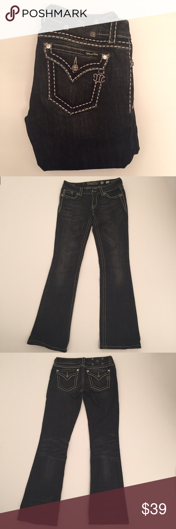 """Miss Me Black Bootcut Jean Style JP5014-5 Black bootcut jean with some whiskering around the thigh area and back of knees and soft fading around the front of the legs/knees. Flap back pockets with button closure. White stitching throughout. Inseam HAS BEEN ALTERED and is approx. 31 1/2"""". These are faded not a true black. No holes, stains or fraying. ❌NO TRADES❌NO PAYPAL❌ Miss Me Jeans Boot Cut"""