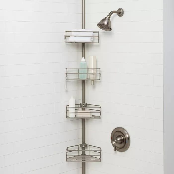 Steel Corner Pole Caddy Made By Design In 2020 Bathroom Decor Made By Design Shower Caddy