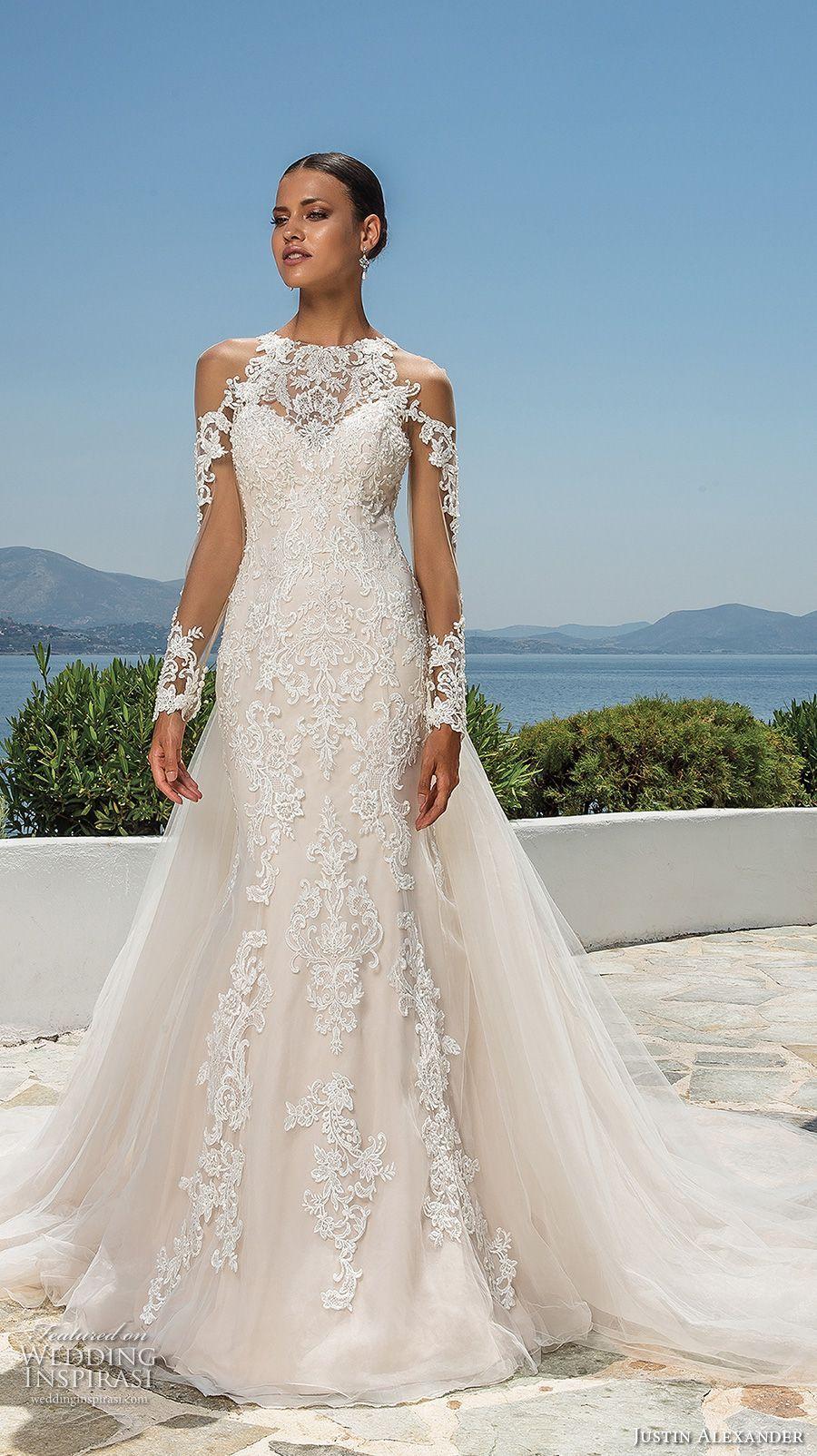 Justin alexander bridal long sleeves jewel neckline full