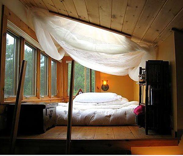 floor mattress in a loft area