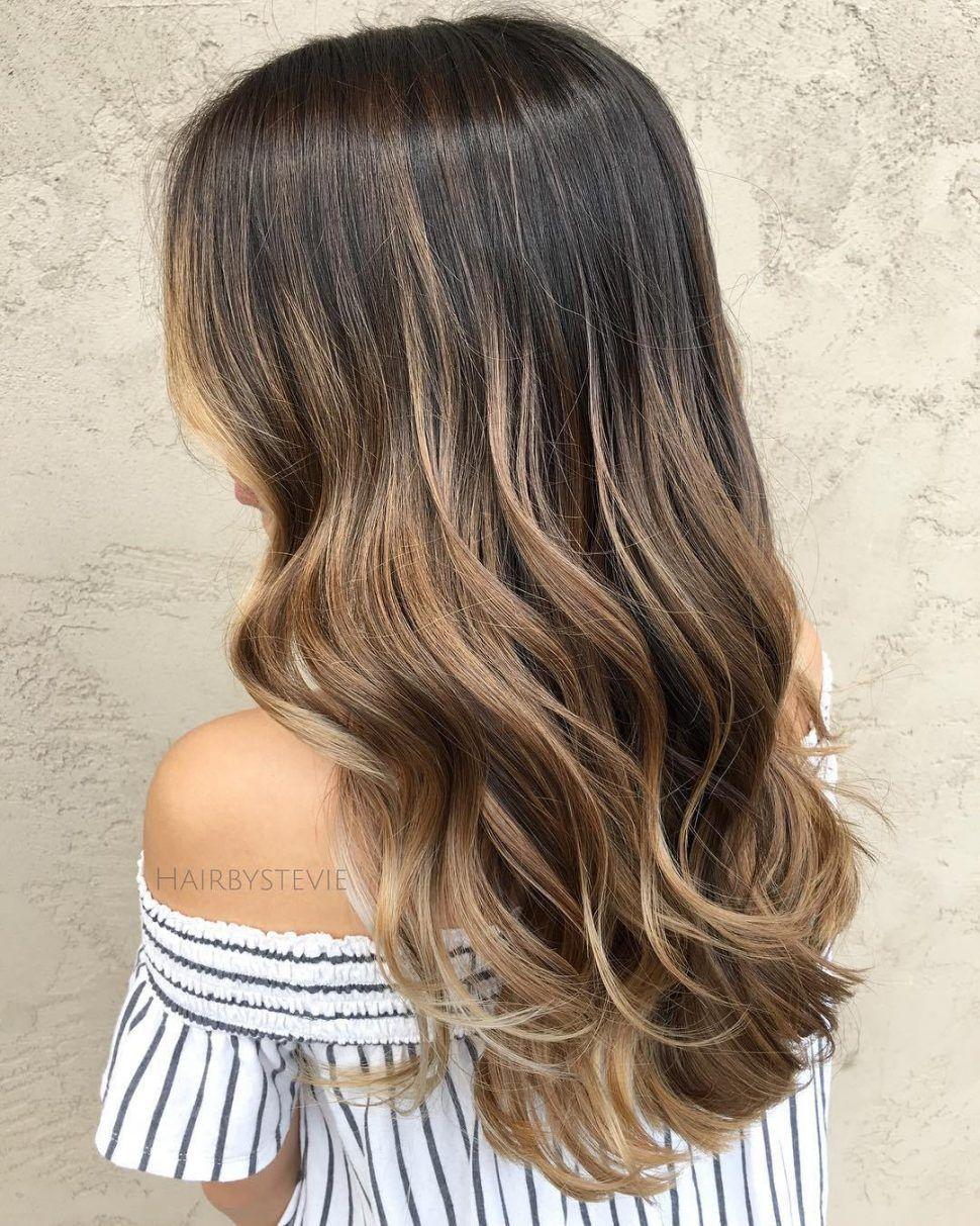 Hair Color Dark Brown Hair With Caramel Blonde Balayage To