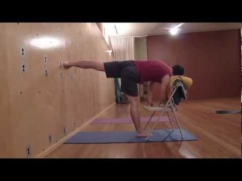 iyengar yoga standing sequence with chair  youtube