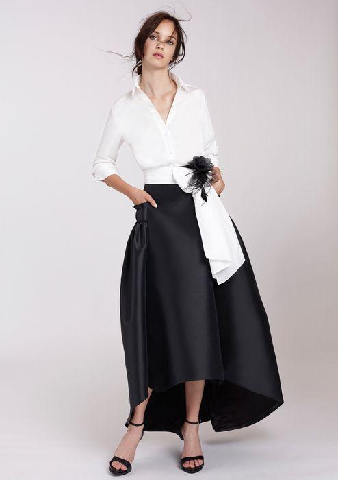 Blusa Blanca Con Falda Larga Vestidos Casuales Elegantes Falda Larga Negra Moda Para Mujer