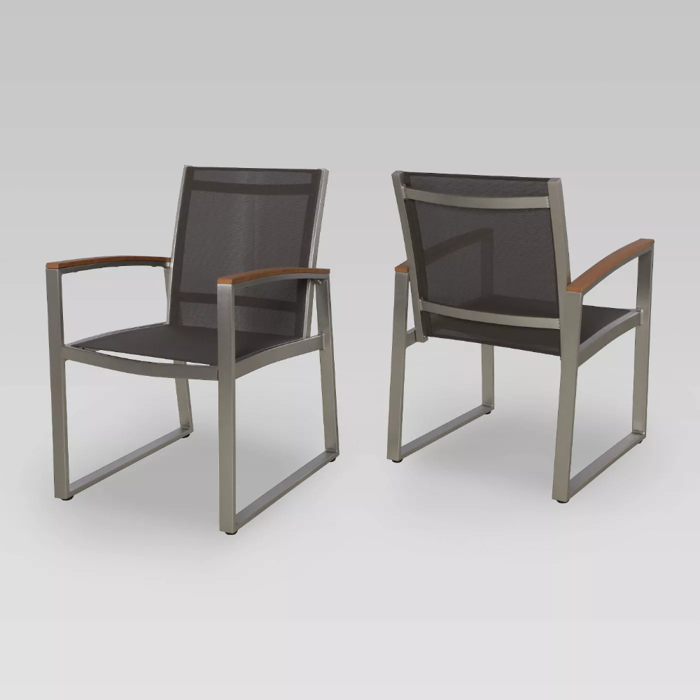 glasgow mesh patio dining chairs gray