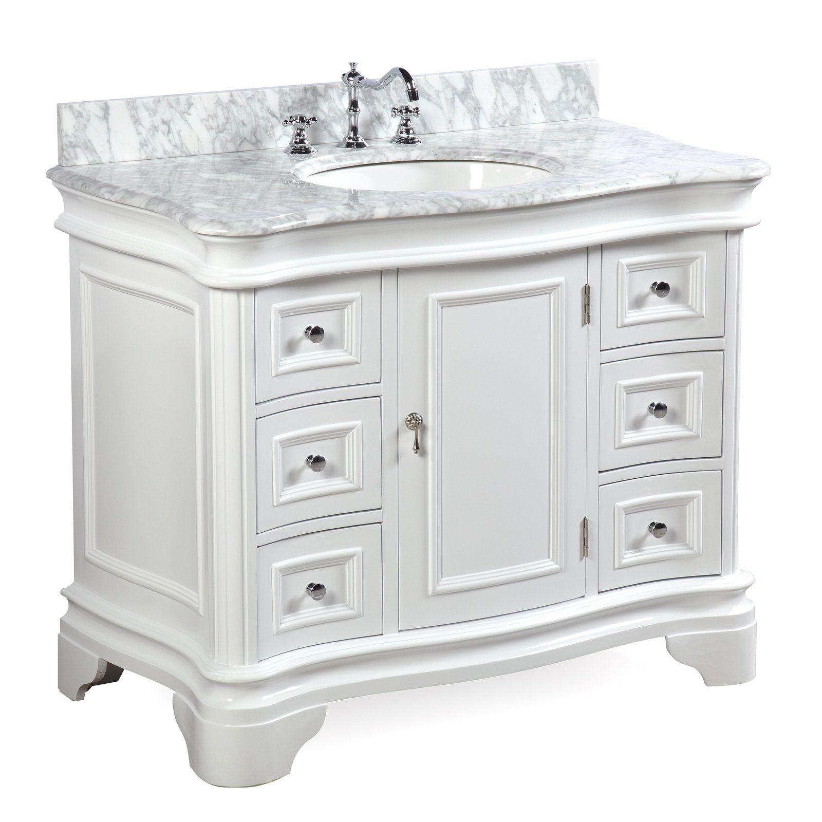 Katherine 42 Inch Vanity With Carrara Marble Top In 2021 42 Inch Bathroom Vanity Single Bathroom Vanity 42 Inch Vanity