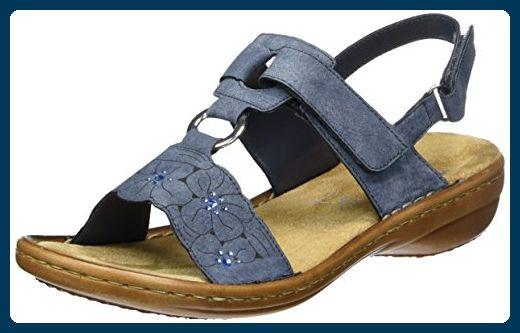 Rieker Damen 60843 Offene Sandalen Mit Keilabsatz Blau Jeans 14 39 Eu Slipper Und Mokassins Sandalen Mit Keilabsatz Geschlossene Zehensandalen Sandalen
