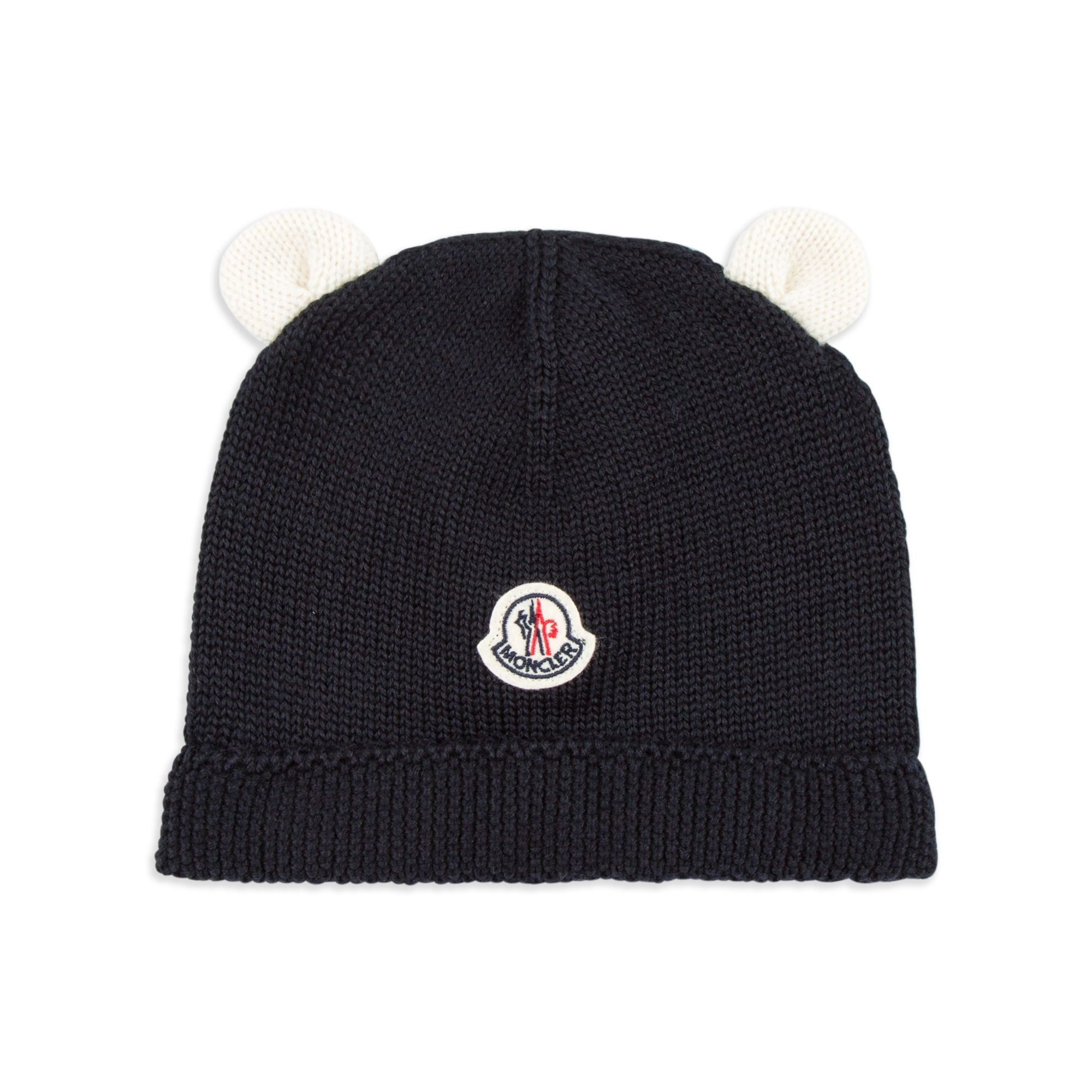 fe987e161132dd base MONCLER Baby Boys Ear Beanie Hat - Navy Baby boys beanie hat • Soft  knitted wool • Turn up brim • Signature logo motif • Attached little ears •  Made in ...