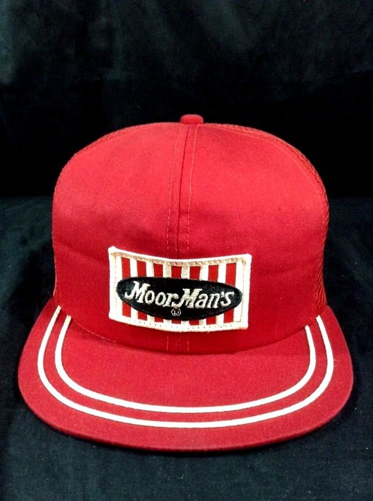 cb7867d2717 Vintage Moor Mans Hat Trucker Red Feed Service Snapback Farmer Country Cap   MoorMans