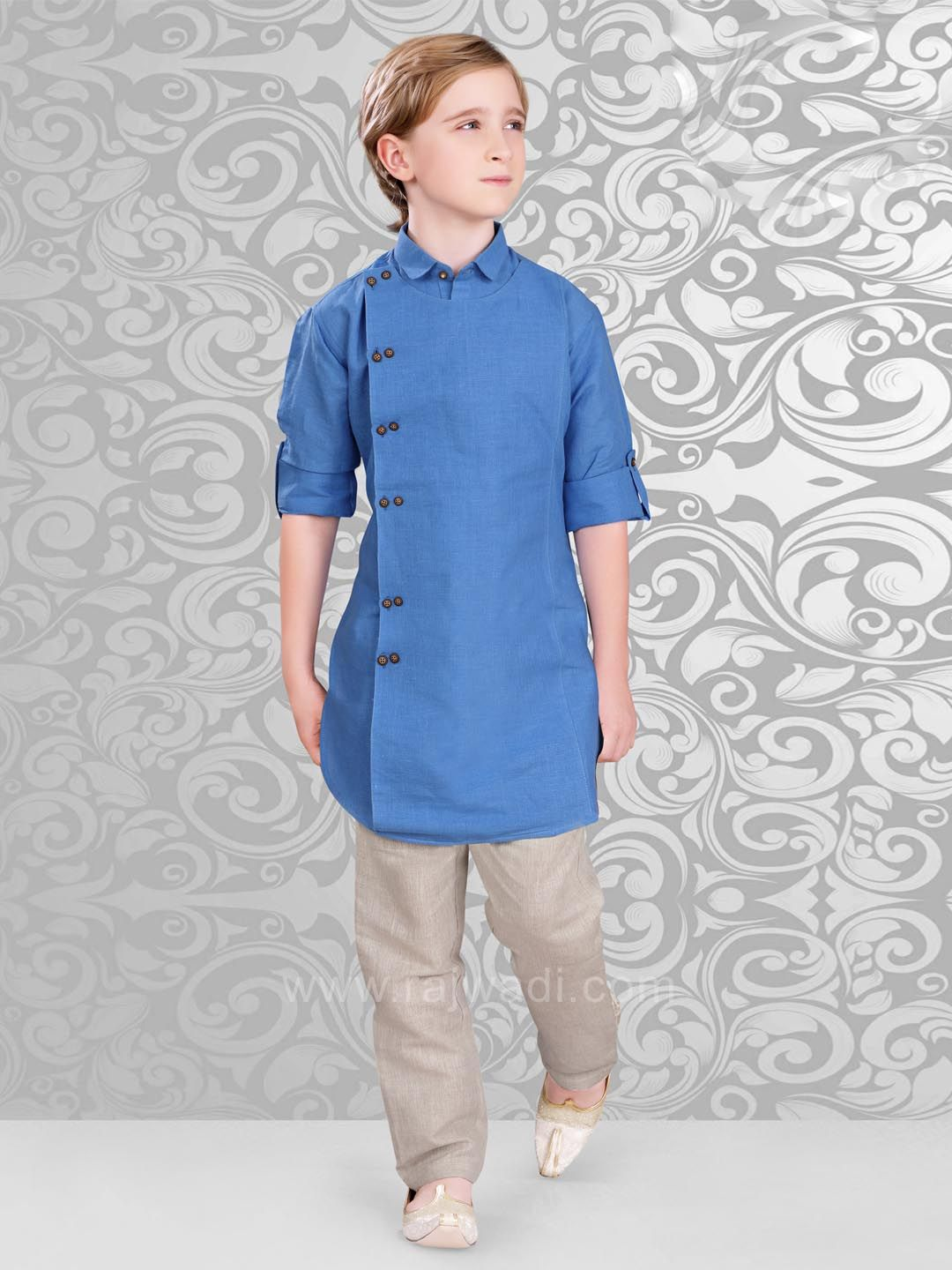 13715d13 Linen Fabric Kurta Pajama in Royal Blue Color #rajwadi #kidswear #boys  #ethnic #traditional #modern #trendy #fashionable #kidsfashion