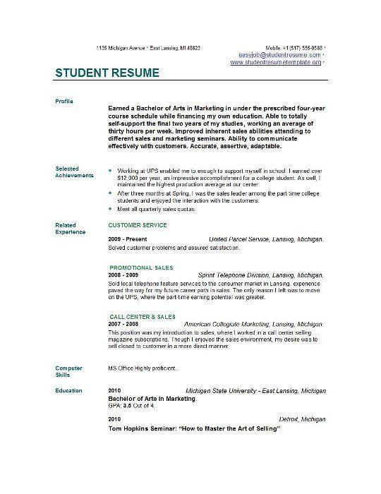 Student Resume Student Resume Template Basic Resume College