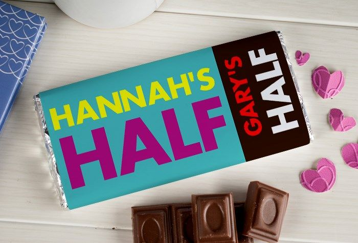 Personalised Chocolate Bar - My Half Your Half | GettingPersonal.co.uk Romantic gifts ♡ #gifts #love #romantic