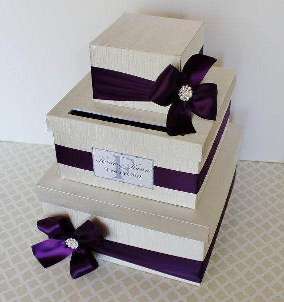 Custom Made WEDDING CARD BOX Money Holder Purple Plum Ivory ...