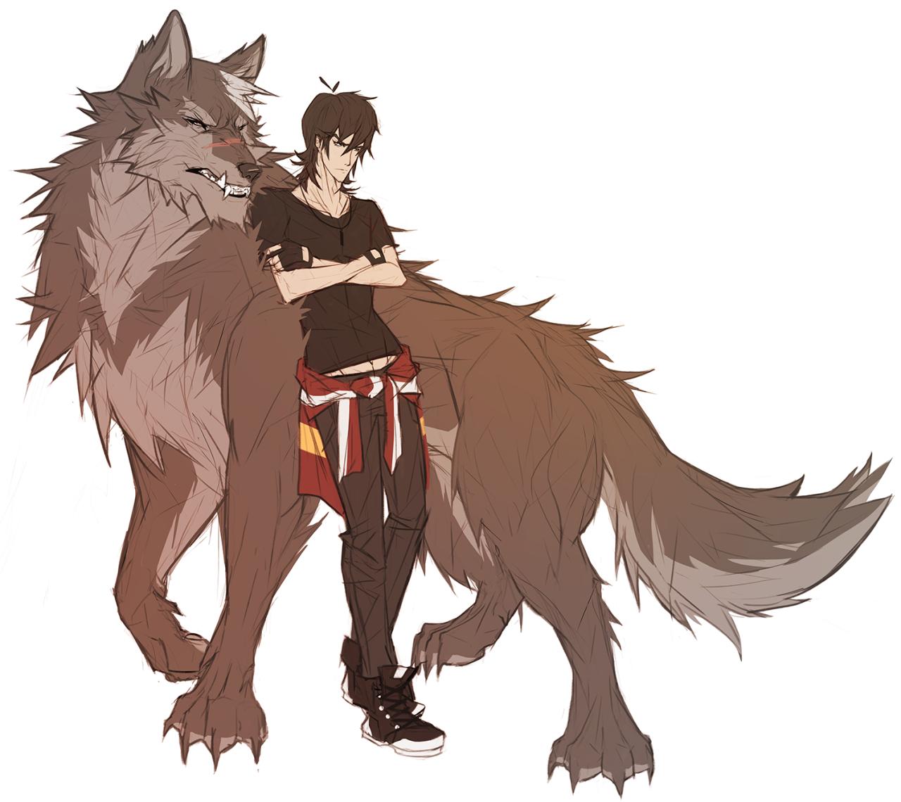 парень волк рисунок