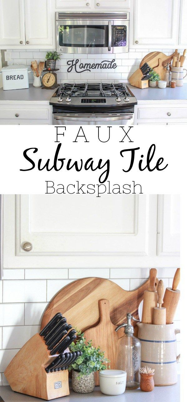 Faux Subway Tile Backsplash Farmhouse kitchen decor