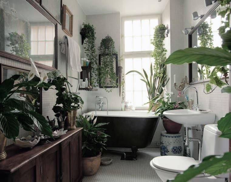 ダークブラウンの家具や陶器と、部屋いっぱいに飾られたグリーンがアジアンテイストの雰囲気の相乗効果を出していて素敵。