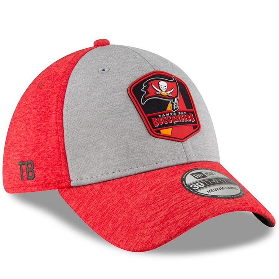 ff1bcc244bf Men s Tampa Bay Buccaneers New Era Heather Gray Red 2018 NFL Sideline Road  Official 39THIRTY Flex Hat