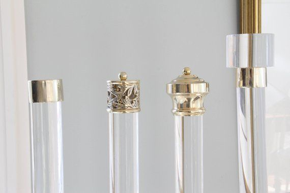 1 5 Dia 35 114 Custom Lucite Curtain Rod W Curtain Rods Curtains With Rings Polished Brass