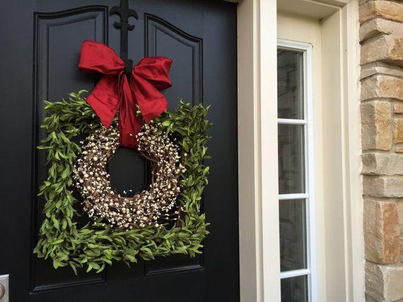 Boxwood Square Wreath Holiday Boxwood Wreaths by twoinspireyou