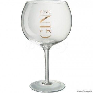 J Line Drinkglas Gin Tonic Transparant Goud 13x13x22cm Assortiment Van 6 Stuks Jline By Jolipa 68625 Tafelgerei Goud Gin