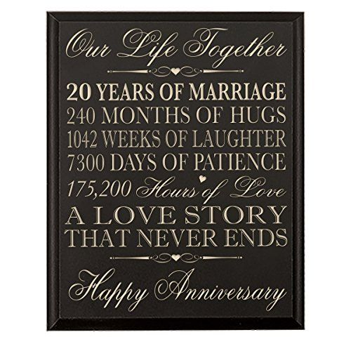 12 Months Of Dates Wedding Gift: 20th Wedding Anniversary Wall Plaque Gifts For Couple 20th