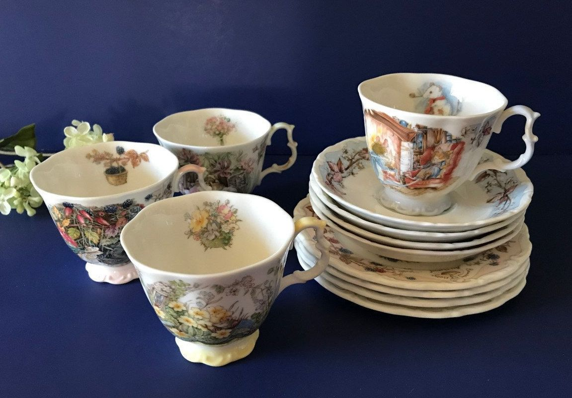 12 pce brambly hedge royal doulton teacup cup saucer