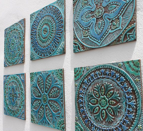 Set Of 6 Decorative Tiles Made From Ceramic 30 X 30cm Glazed In Turquoise