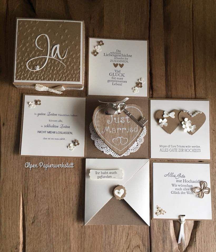 Geldgeschenke Geldgeschenk Explosionsbox Hochzeit Holz Herz