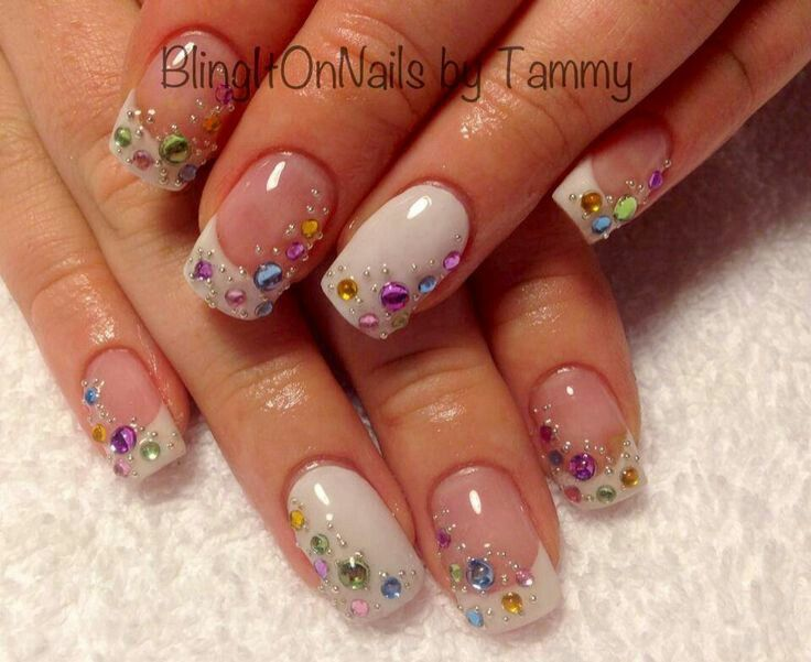 White jeweled nailart | Nail Art | Pinterest | Jewel, Jewel nails ...