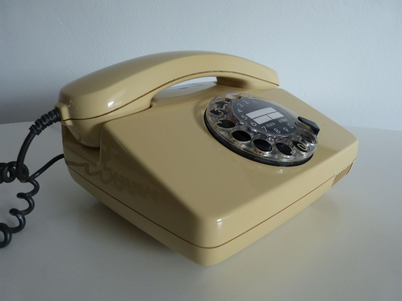 Vintage Telefon Beiges Telefon Telefon Mit Wahlscheibe Altes