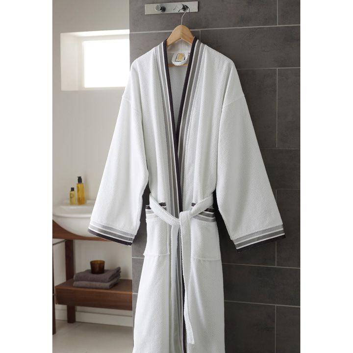 peignoir de bain piqu 100 coton peignoirs linge de. Black Bedroom Furniture Sets. Home Design Ideas