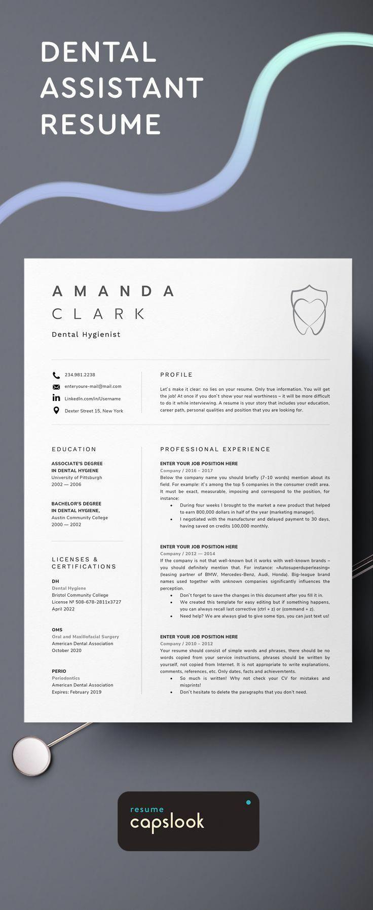 Dental assistant, dentist, hygiene resume template for microsoft word. #dental #... #Assistant #Dental #dentist #Hygiene #microsoft #resume #template #word #DentalHygienistCup #dentalassistant
