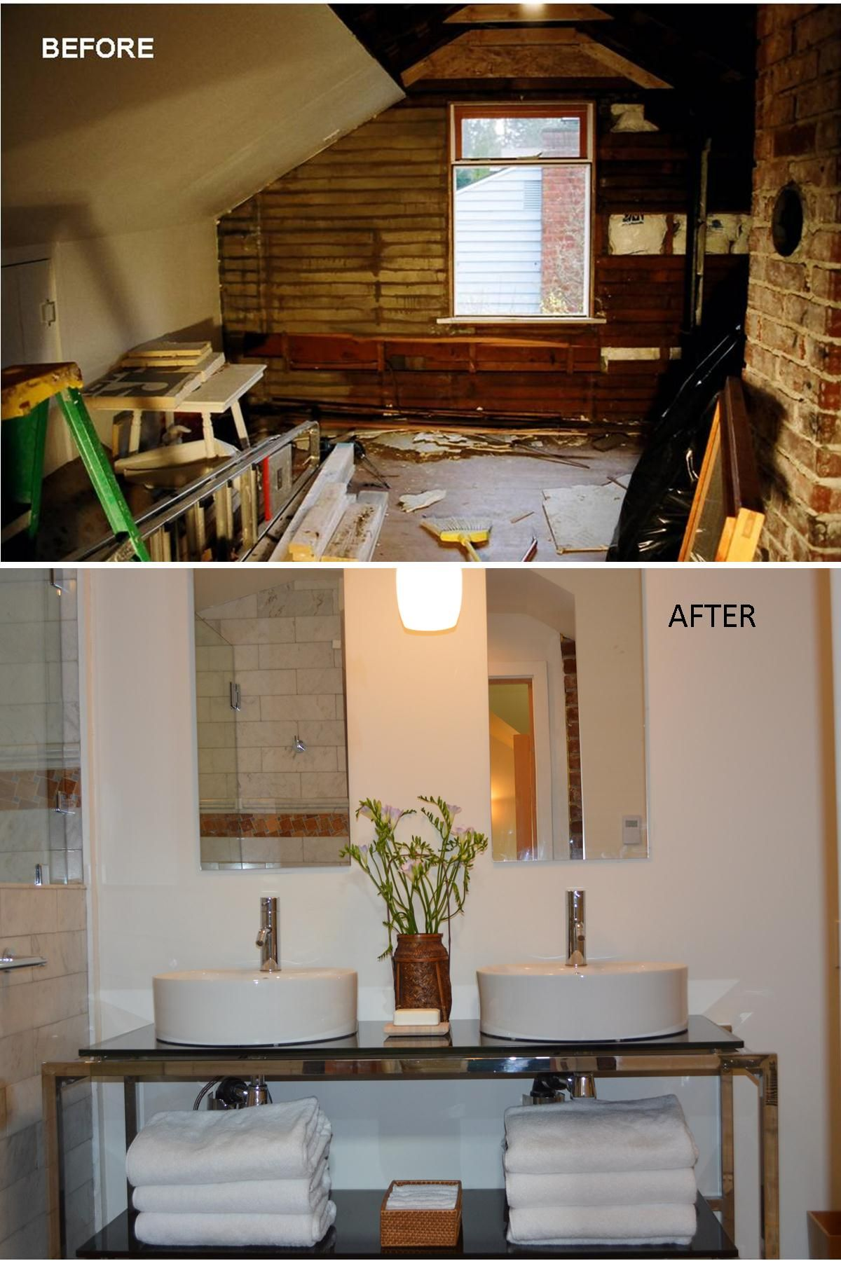 Before and after photo part of this old seattle area for Bathroom addition