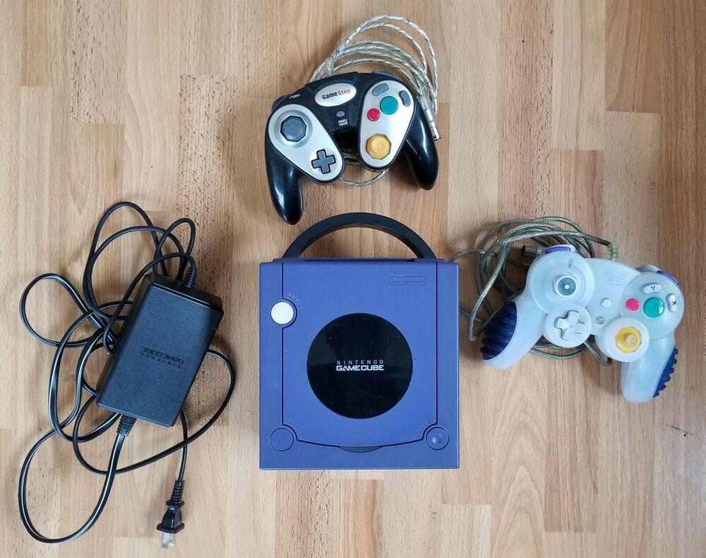 Nintendo Indigo Purple Gamecube Console 2 Controllers Power Supply