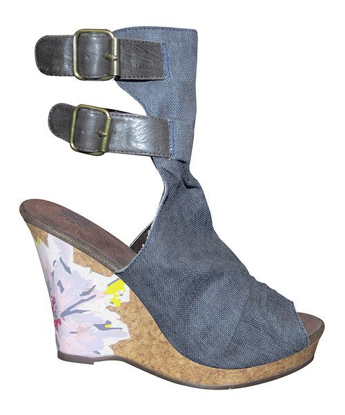 Look what I found on #zulily! Blue Floral Scrunch Peep Toe Wedge - Women by MUK LUKS #zulilyfinds