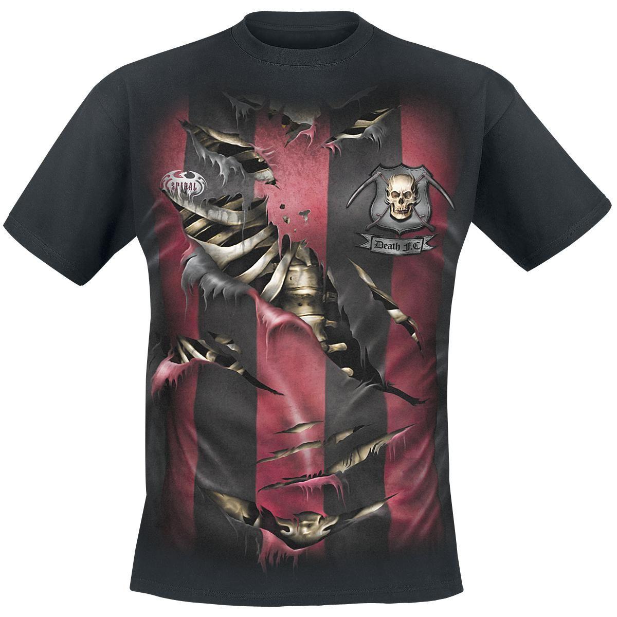 """#TShirt uomo nera """"Team Reaper"""" del brand #Spiral con ampia stampa sul davanti di una maglietta a righe rosse e nere strappata da cui si intravede uno scheletro. Sul retro del capo è stampata la scritta """"Reaper - 666""""."""