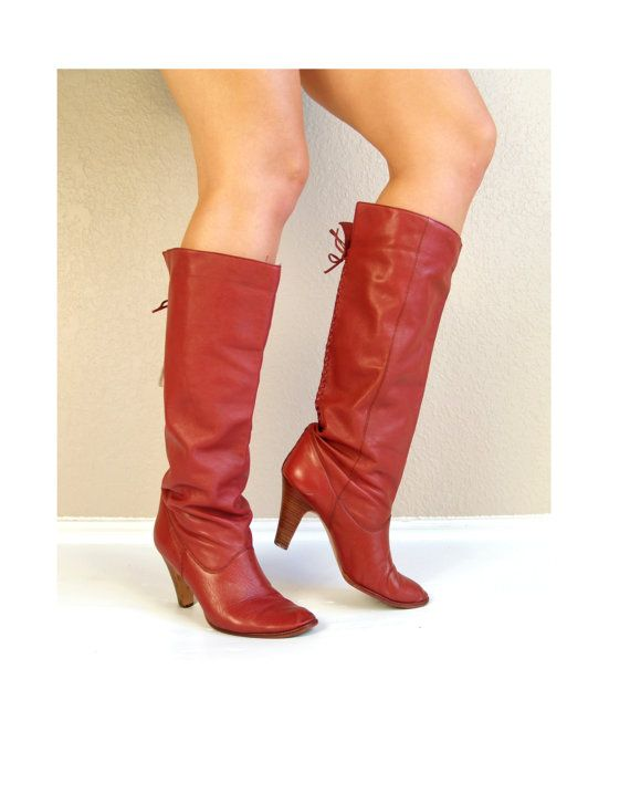 ead1c5e3cbb4c vtg 70s Lipstick Red Leather KNEE HIGH heel BOOTS boho 8.5 tall ...