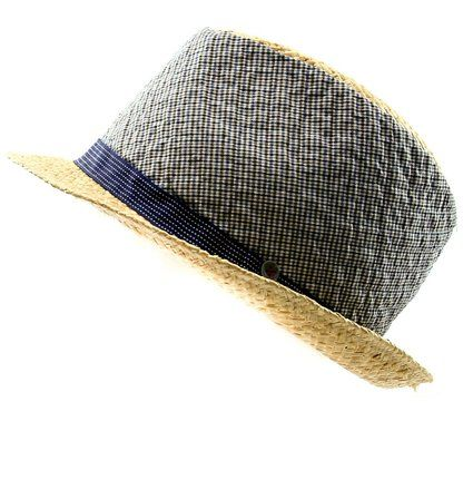 Grevi Men s Raffia   Plaid Fabric Fedora Hat in Natural   Blues Size Large 8f5b104361d9