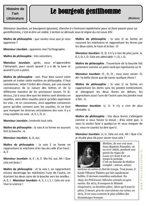 Moliere Le Bourgeois Gentilhomme Cm1 Et Cm2 Le Bourgeois Gentilhomme Gentilhomme Litterature