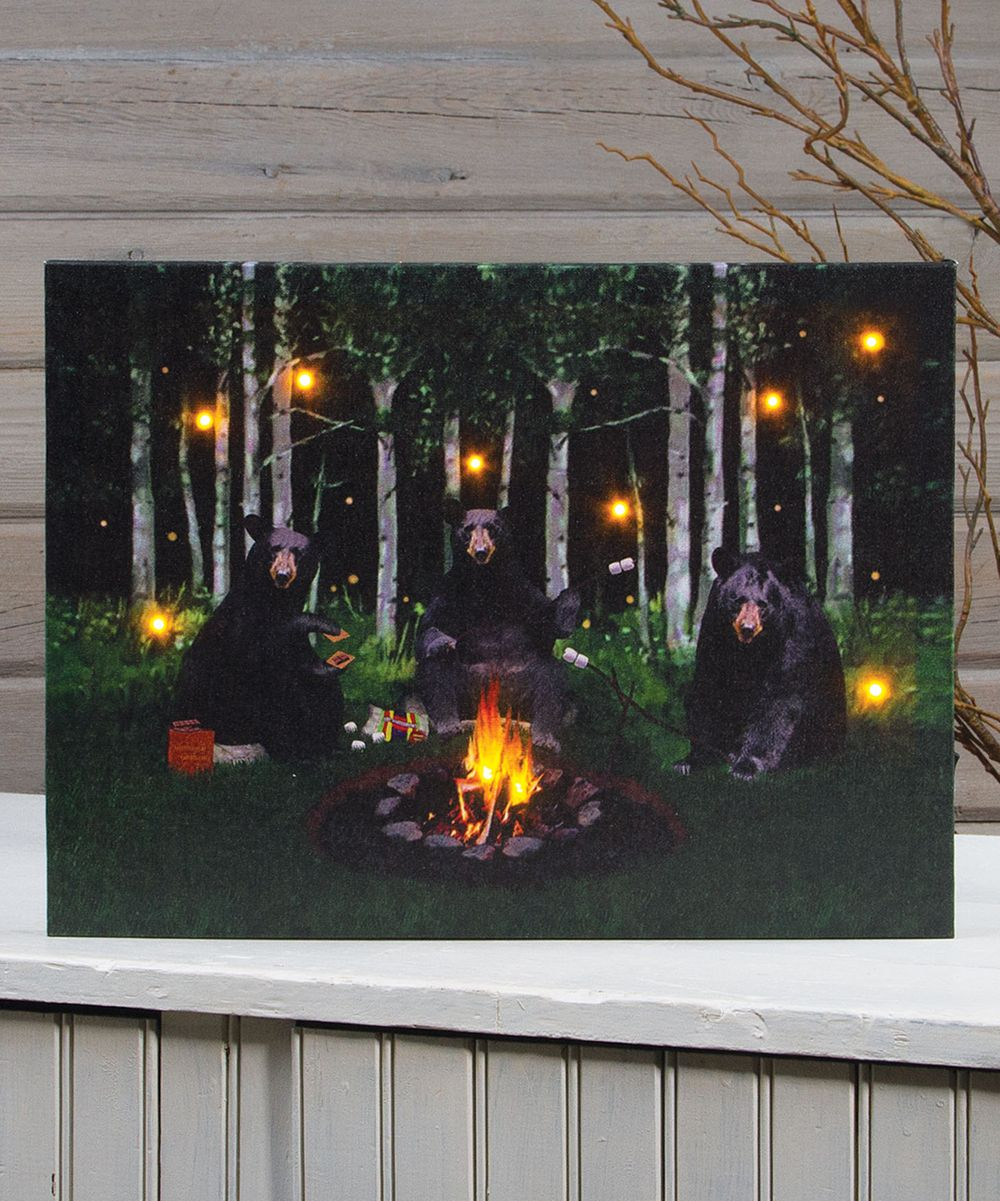 S'More Bears Lighted Wrapped Canvas