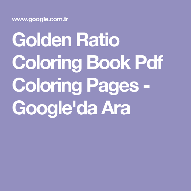 Golden Ratio Coloring Book Pdf Pages