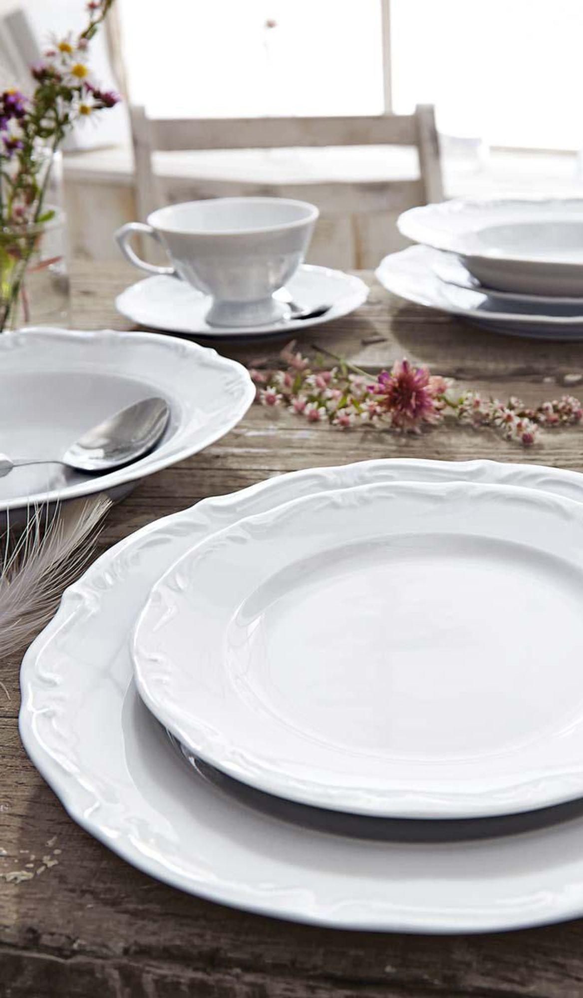 12 Tlg Romantisches Tafelservice Aus Porzellan Geschirr Landhausstil Tafelservice Geschirrset