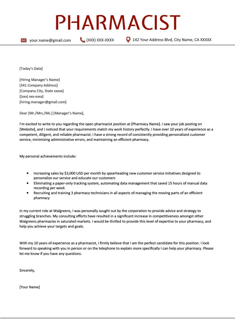 Pharmacist Cover Letter Sample | Free Download | Resume ...