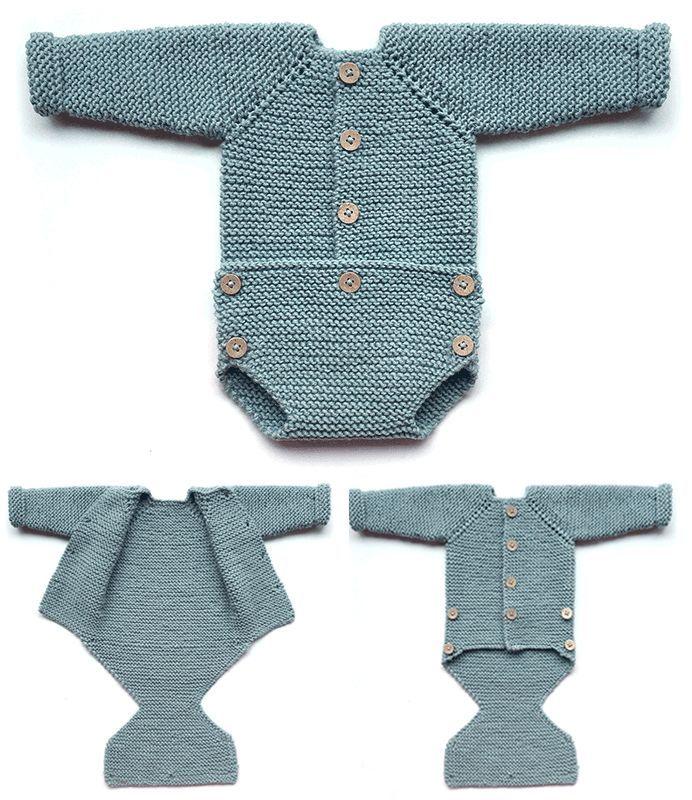Photo of Free Knitting Pattern für Pelele Onesie – Strumpfband Strampler mit geknöpften…