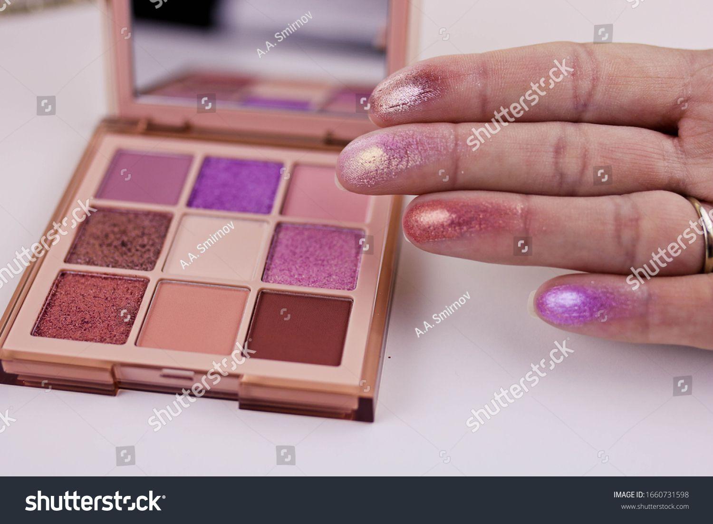 Swatches Eye Shadows Palette On Female Stock Photo (Edit