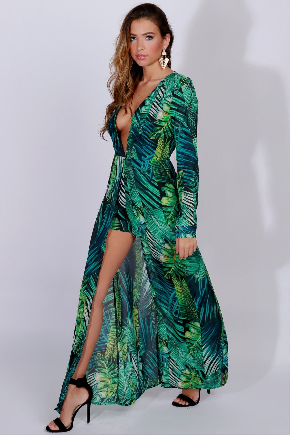 a320ab6c069f Palm Leaf Print Maxi Green